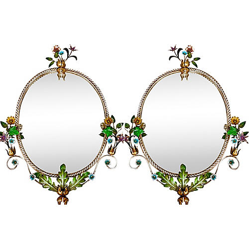 Italian Floral Tole Mirrors, Pair