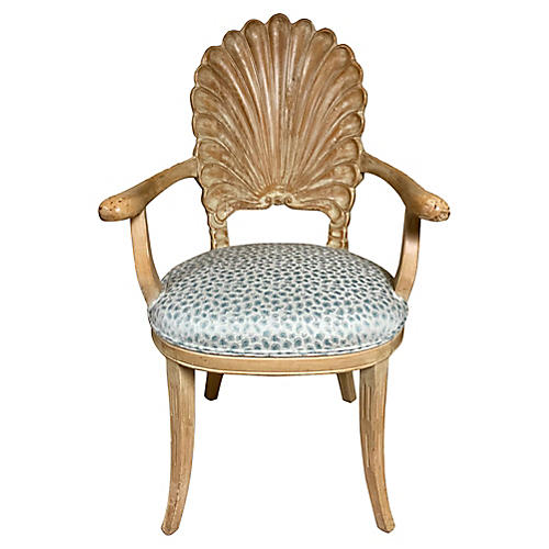 Shell Back Chair in Leopard Fabric