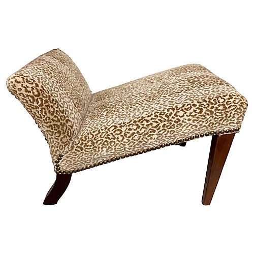 Kneeling Stool in Leopard Upholstery