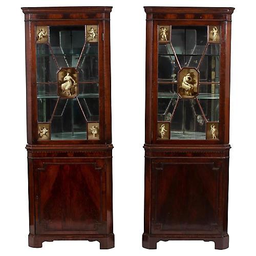 19th-C. Regency Style Corner Cabinets