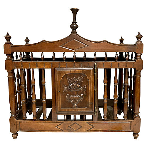 19th-C. French Walnut Panetiere ,Box