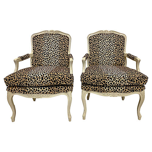 French-Style Chairs in Leopard, Pair