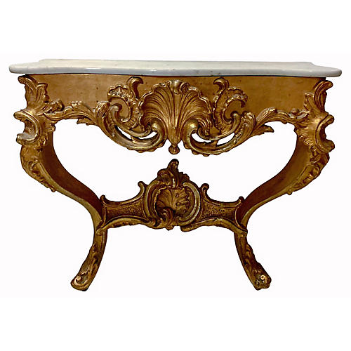Antique French Giltwood Console Table