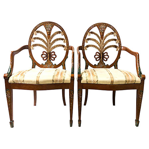 Painted Regency Style Chairs, Pair