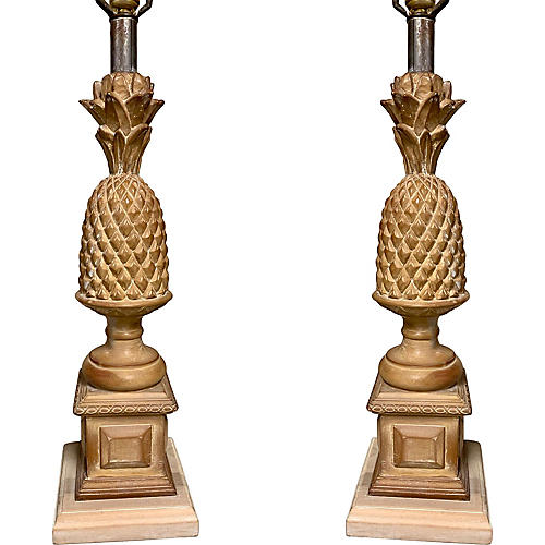 Regency Style Carved Pineapple Lamps,S/2