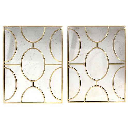 Italian Brass Mirrors, Pair