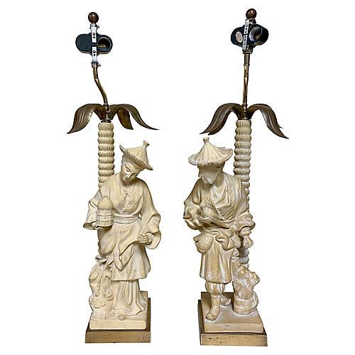 Chapman Chinoiserie Lamps, Pair