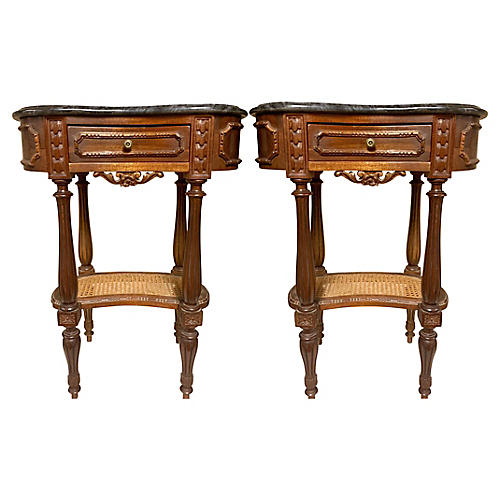 Carved French Marble Top Side Tables,S/2