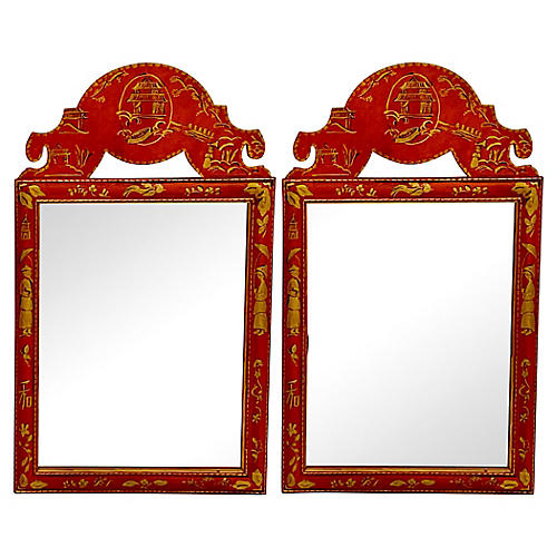 Hand Painted Chinoiserie Mirrors, Pair