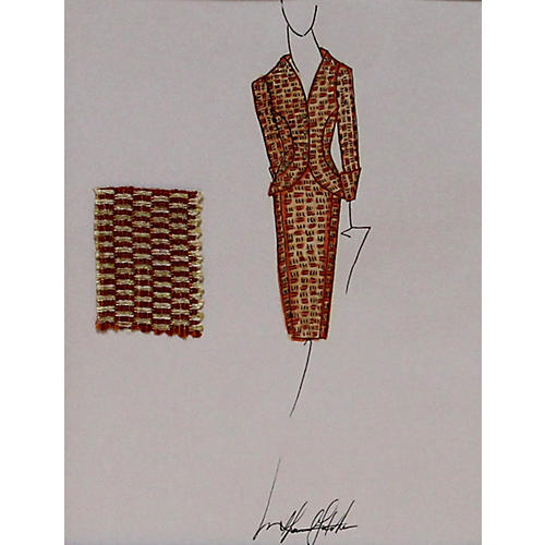 Orange Ladies Suit Fashion Illustration
