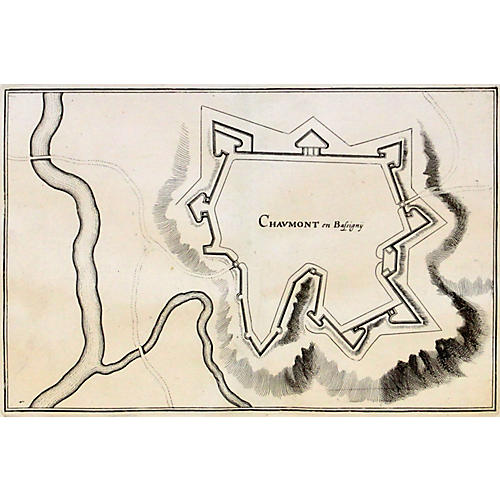 French Fortification w/ Topography, 1660