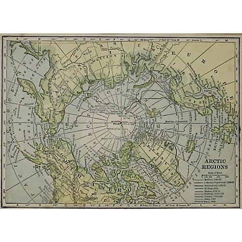 Arctic Regions w/ North Pole , 1914