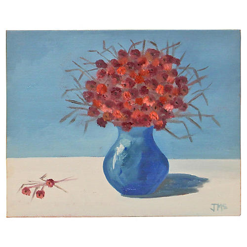 Red Flowers w/ Blue Vase