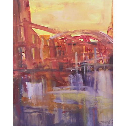 Abstract Cityscape of Bridge & Water