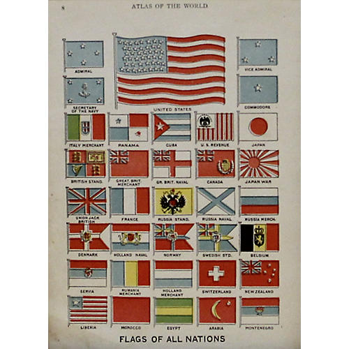 Flags of All Nations w/ US Flag, 1908