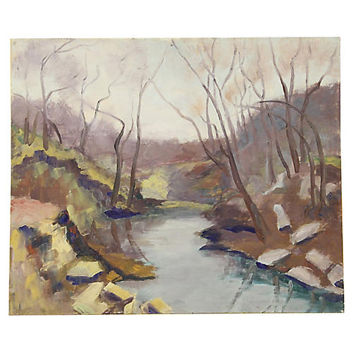 Riverbank Landscape by V. Doty