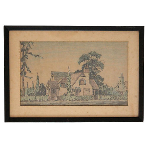 Architectural Tudor House Drawing