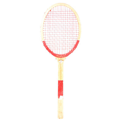 Wooden Tennis Racket w/ Red Accents