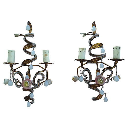 Italian Tole Floral Sconces, Pair