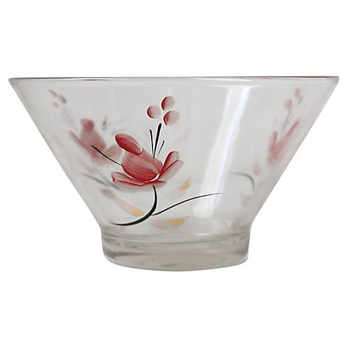 Glass Bowl with Painted Flowers