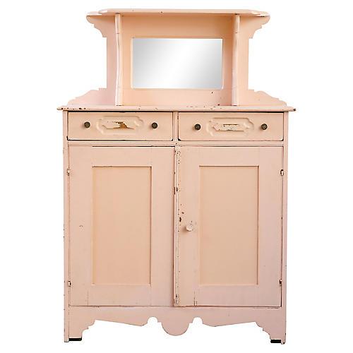 Pink Cabinet w/ Mirror