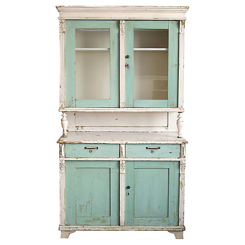 Teal & White Farmhouse-Style Cabinet