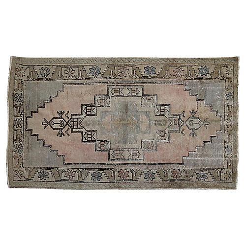 Handwoven vintage Oushak Rug