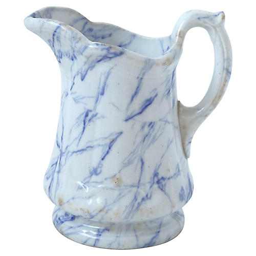 White and Marble Blue Pitcher