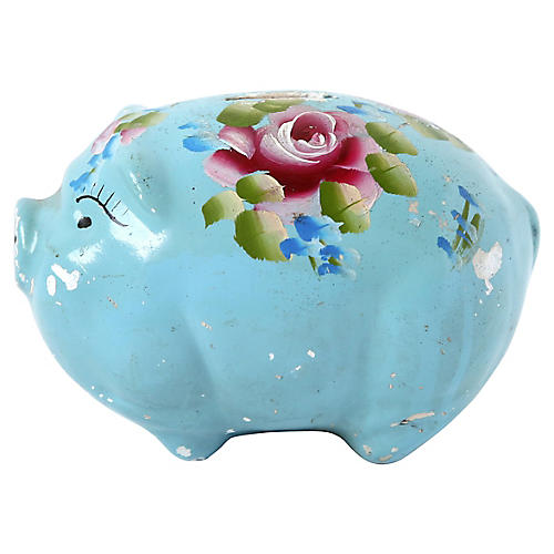 Vintage Blue Painted Piggy Bank