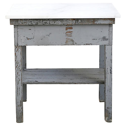 Grey Side Table with Marble