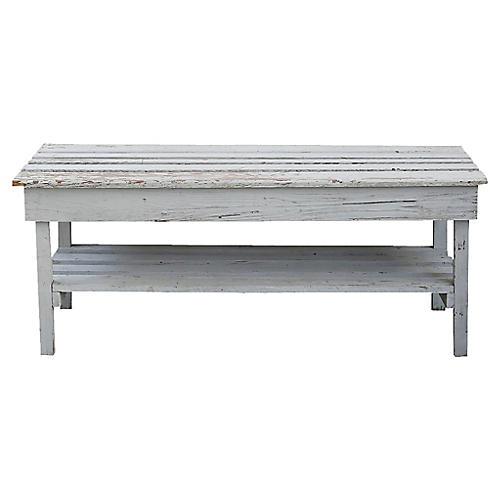 Gray Slatted Bench