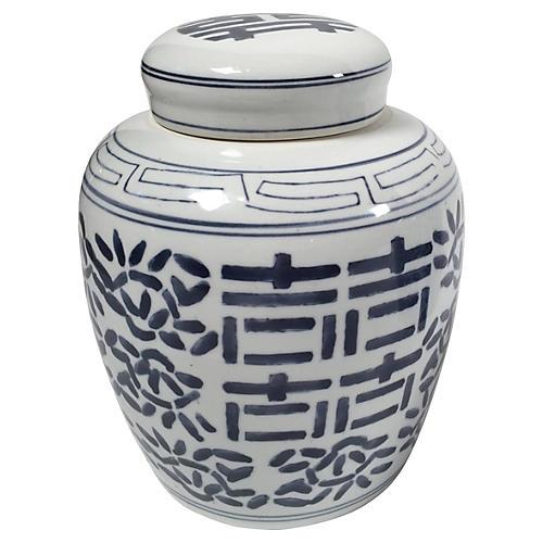 Blue & White Ceramic Ginger Jar