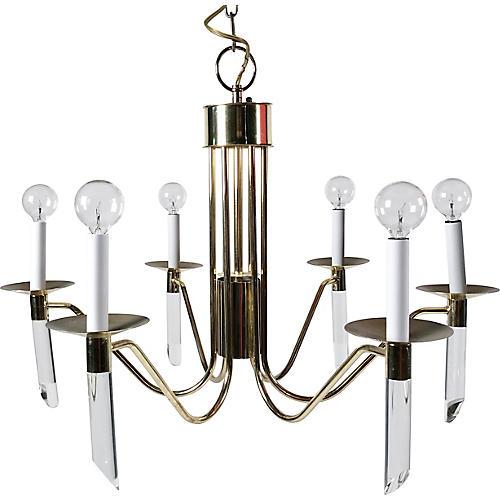 6-Light Brass & Lucite Chandelier