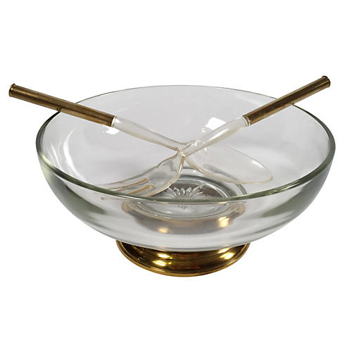 Glass Salad Bowl w/ Serving Utensils