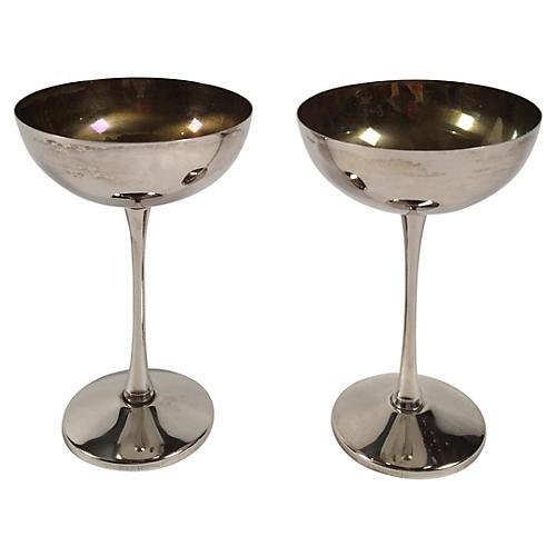Italian Leonara Silver-Plate Goblet Pair