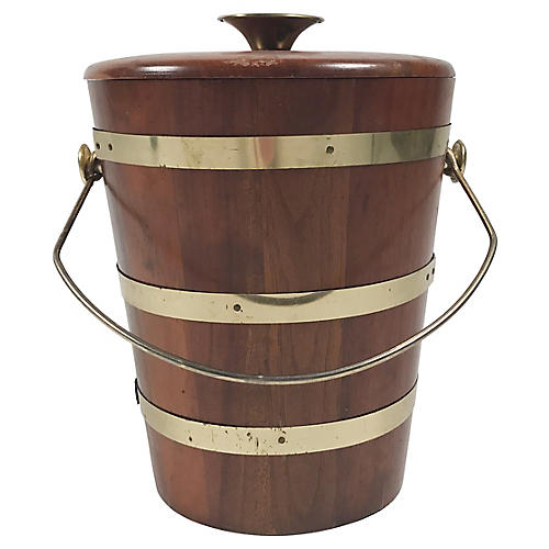 Walnut & Brass Ice Bucket