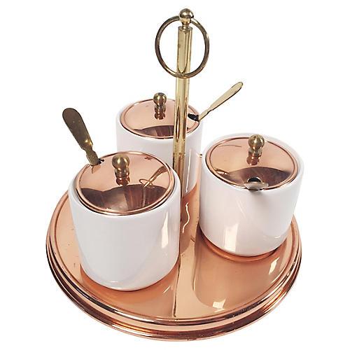 Copper Condiment Server Sets, 10-Pcs