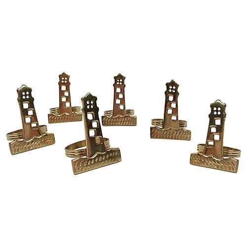 Brass Lighthouse Napkin Rings, S/6