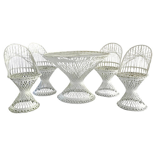 R. Woodard Fiberglass Patio Set, 5 Pcs