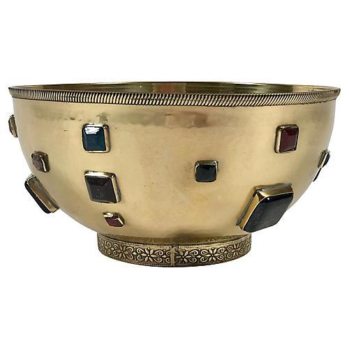 Jeweled Brass Bowl