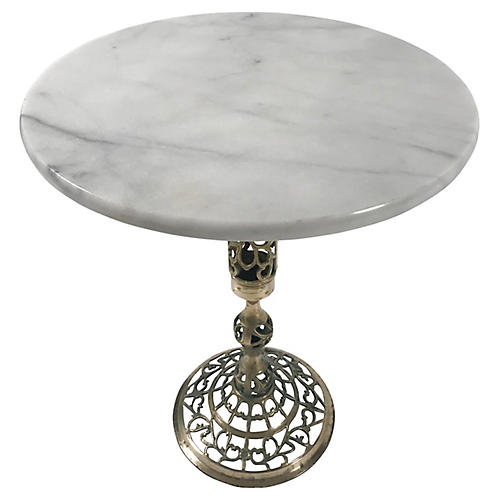 French Marble & Brass Side Table
