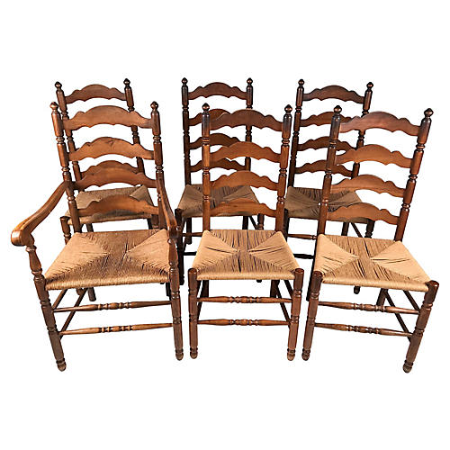 English Ladderback Chairs, S/6