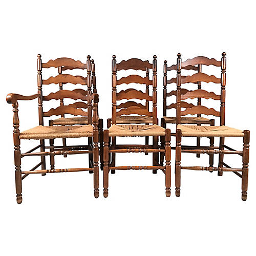 English Ladderback Chairs, S/6