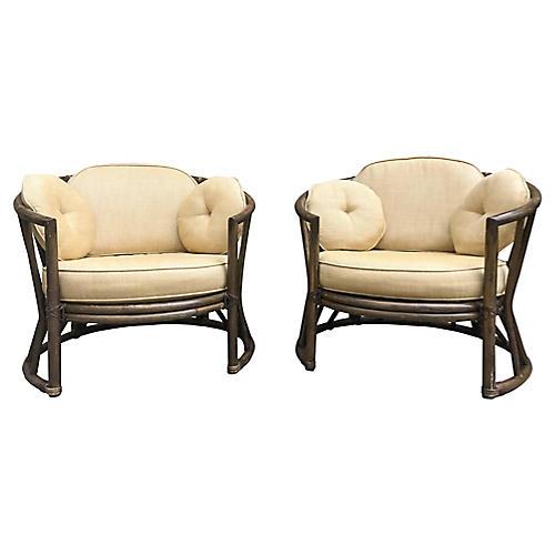 Brown Jordan Rattan Chairs, Pair