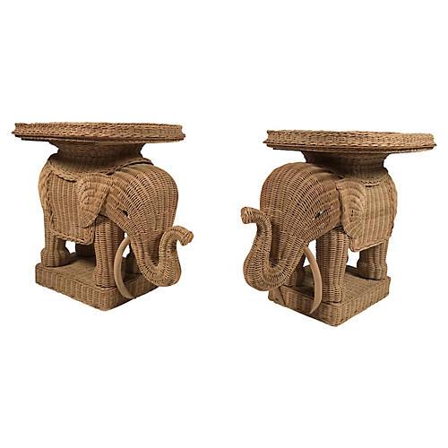 Wicker Elephant Side Tables, Pair