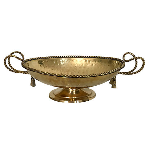 Hammered Brass Rope Handle Compote