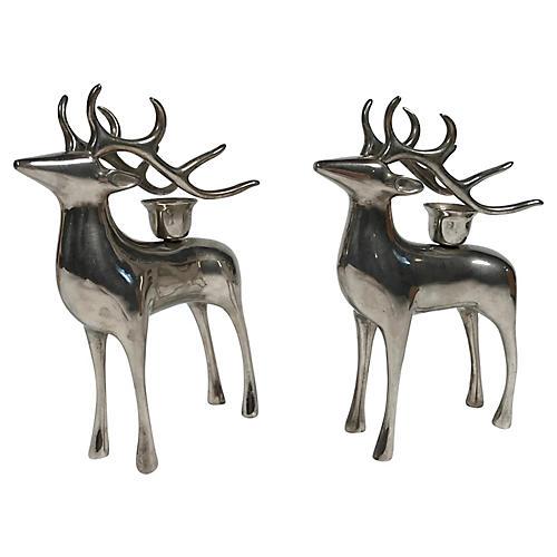 Reindeer Candleholders, Pair