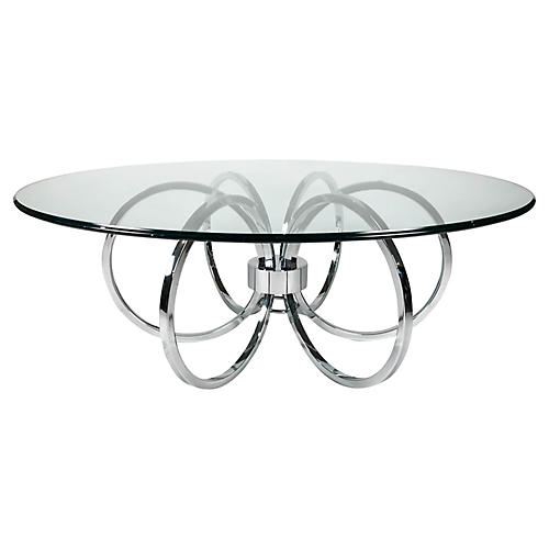 Mid Century Chrome Ring Coffee Table