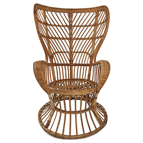 Rattan Wingback Chair by Lio Carminati