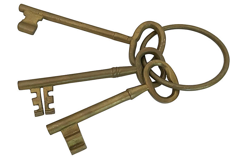 Brass Skeleton Keys on Key Ring